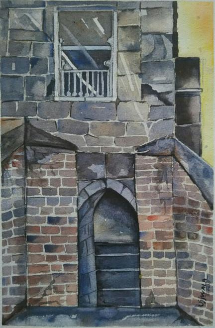 window, landscape, cityscape, multi colour, fort, monument,Window,ART_1243_10950,Artist : Ujwala Chavan,Water Colors