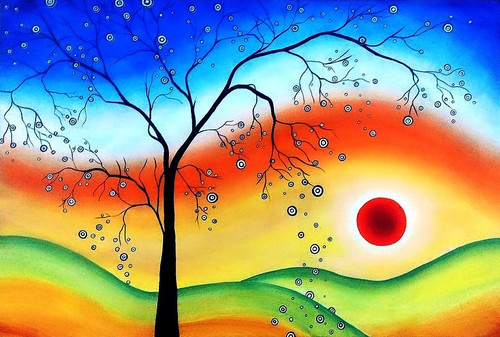 Multi color painting, abstract tree, abstract flowers wtc,Abstract Sunset,ART_1245_10923,Artist : Shubhangi Khot,Acrylic
