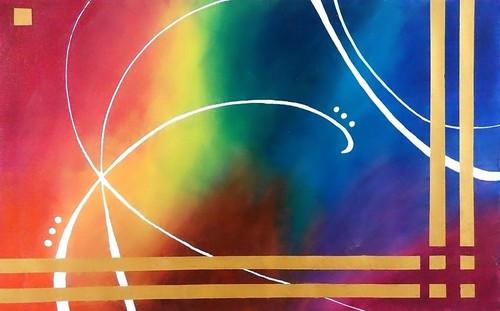 abstarct painting, multicolor painting, colorful painting etc,Colourful Aura,ART_1245_10922,Artist : Shubhangi Khot,Acrylic