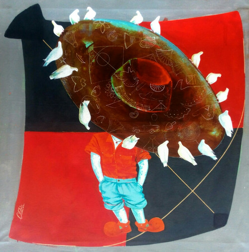 kites, birds, balloons, toys, tradys, hats etc,memories of the childhood 2,ART_805_10901,Artist : Shiv kumar Soni,acrylic