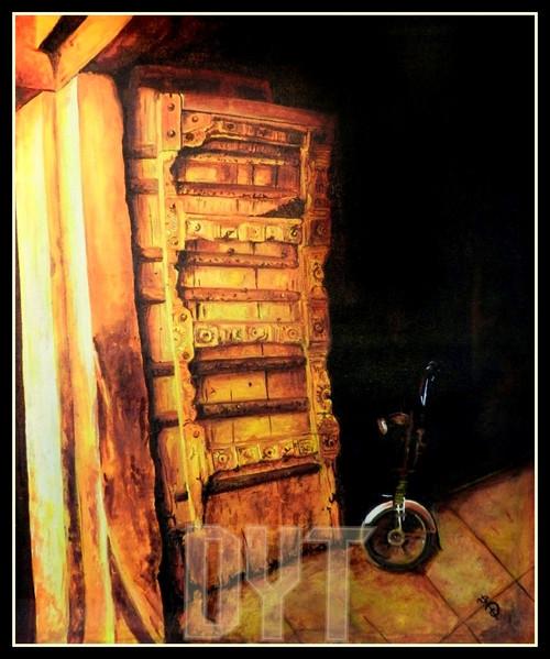 vintage door, city scape, yellow, brown shade painting,VINTAGE DOOR PAINTING,ART_670_9032,Artist : Dhara Parekh,ACRYLIC