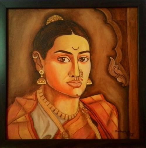 ,14cm>< 14cm- Portrait- Marathi woman.,ART_172_7667,Artist : Sneha Patil,Oil on canvas