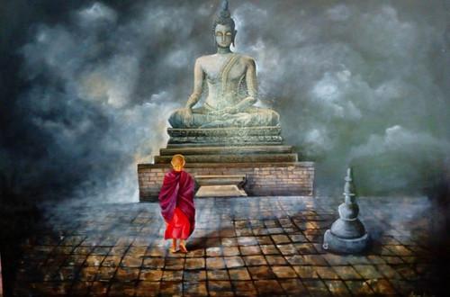religious, buddha painting, monk of buddha, muli colour painting,Monk of Buddha,ART_82_7472,Artist : Arjun Das,Acrylic