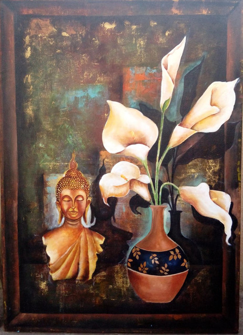 buddha, buddha with flowers, buddha with vase, yellow, brown shade painting, religious painting, buddha with vastu lily flowers,Buddha And Vastu Lily Flower,ART_82_7108,Artist : Arjun Das,Acrylic