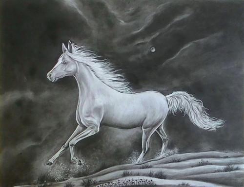 charcoal, horses, galloping horses,Gallop,ART_35_7088,Artist : Saikat Choudhury,Charcoal