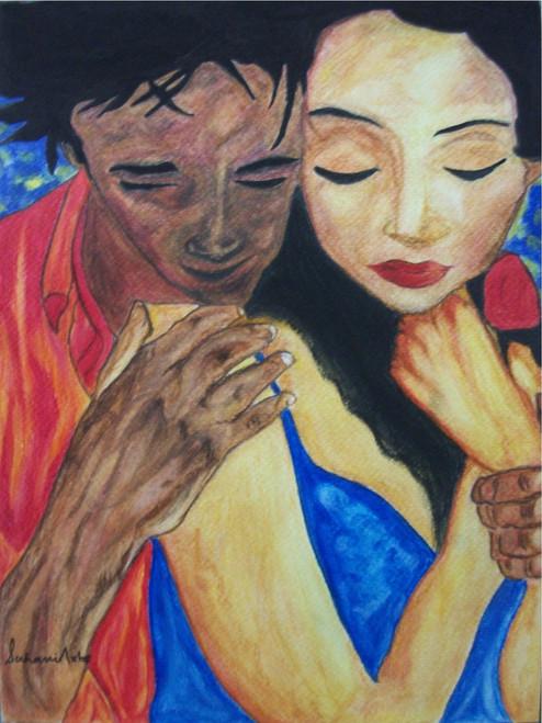 Men, Women, couple, Love, Blue, Red, Orange, Brown,Blind Love,ART_210_6583,Artist : Suhani Goel,Watercolor on Brustro 300gsm acid free paper