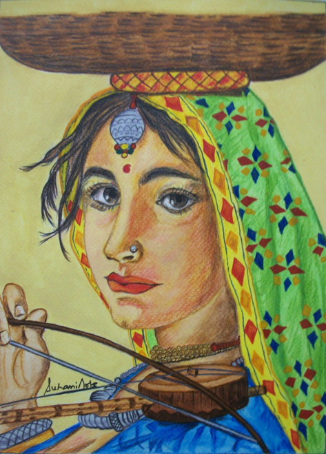 Lady, Eyes, Traiditional, Music, Green, Blue, Brown,Lady Toy Seller,ART_210_6534,Artist : Suhani Goel,Watercolor on Brustro 300gsm paper