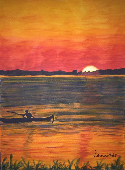Sun, Boat, Boatman, Water, Mountains, Orange,Red, Black,Beautiful Sunrise view,ART_210_6533,Artist : Suhani Goel,Watercolor on Brustro 300gsm paper