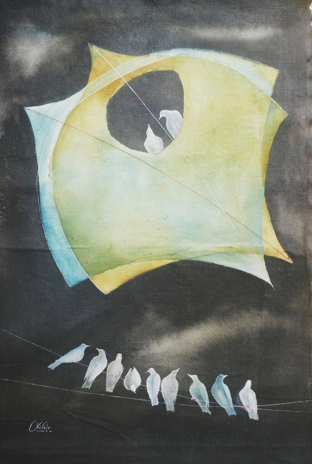 kite, bird, abstract art, yellow, brown shade painting, play of kites & birds,Play Of Kites And Birds,ART_805_6065,Artist : Shiv kumar Soni,acrylic on canvas