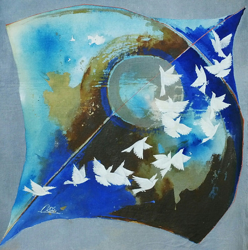 kite with birds, blue, violet, mauve shade painting,Kites And Birds Blue,ART_805_5778,Artist : Shiv kumar Soni,acrylic on canvas