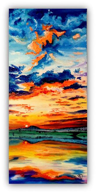 abstract sunset sunrise,seascape painting,ART_670_4288,Artist : Dhara Parekh,acrylic