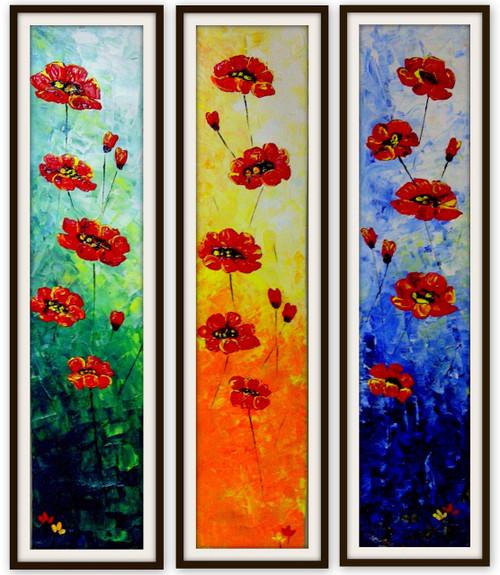 Multipice flowers, flowers, red orange flowers, floral paintings etc,flower panel,ART_670_4287,Artist : Dhara Parekh,acrylic