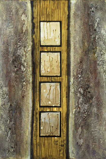 GoldWindow - 24in X 36in,26Heavy18_2436,Black, Dark Shades,60X90 Size,Heavy Texture Art Canvas Painting