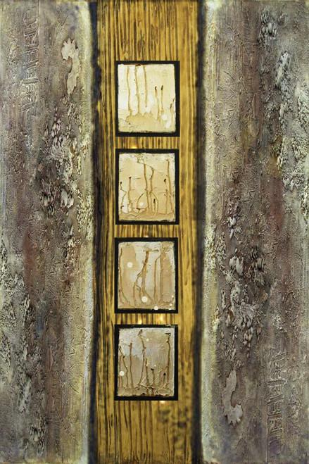 GoldWindow - 24in X 36in,26Heavy18_2436,Black, Dark Shades,60X90 Size,Heavy Texture Art Canvas Painting