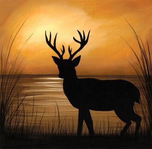deer, silhouette, jungle, sunset,Deer silhouette ,ART_359_11281,Artist : Latesh Nair,Acrylic