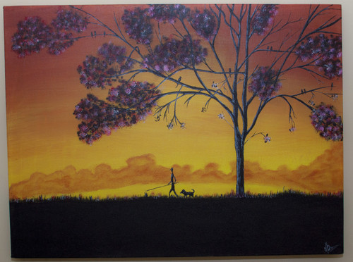 Dog, man, silhouette, sunset, walk ,Walk with you buddy,ART_359_5901,Artist : Latesh Nair,Acrylic