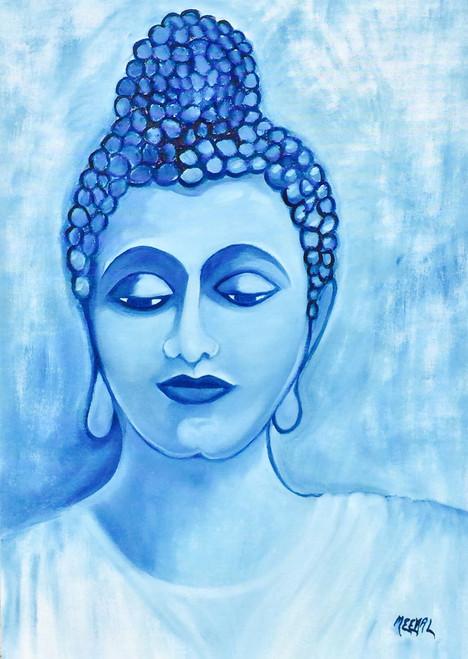 Buddha, Peace, Joy, Happiness,Meditating Buddha,ART_455_11298,Artist : MEENAL SONI,Oil