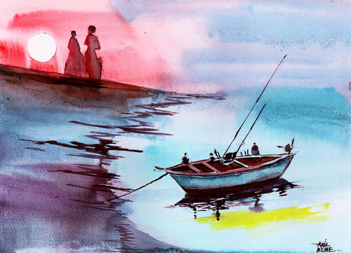 nature, landscape, seascape, boat, couple, relax,Back To Pavilion,ART_924_5716,Artist : Anil Nene,Watercolour on paper