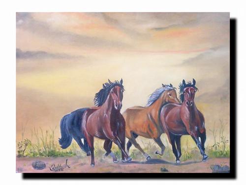 Horse, Horses, Rytham ,The Force,ART_168_11306,Artist : Subhash Gijare,Oil