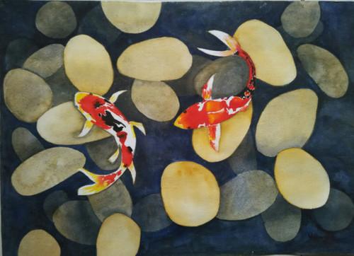 ,Koi Fish,ART_1243_11321,Artist : Ujwala Chavan,Water Colors