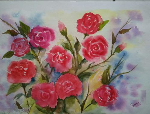 ,Roses,ART_1243_11319,Artist : Ujwala Chavan,Water Colors