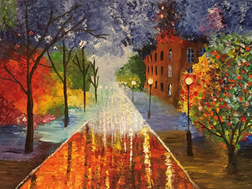 Road, Night, Light, Calm, Glow,Street ,Street in the Rain,ART_1052_11336,Artist : Shyla Alex,Oil