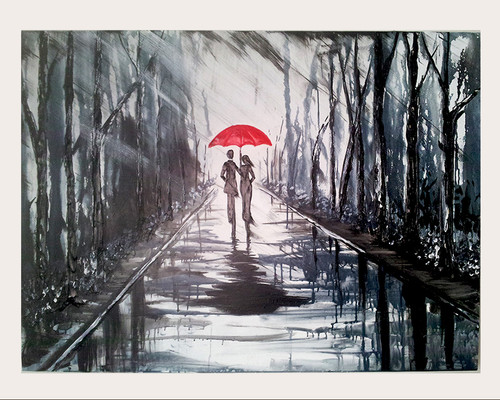 black & white painting, couple painting, walkway painting, romance painting, textured painting, couple with umbrella painting, rain painting,LANDSCAPE PAINTING P-50,ART_1265_10985,Artist : DARSHANA MUTHA,Acrylic