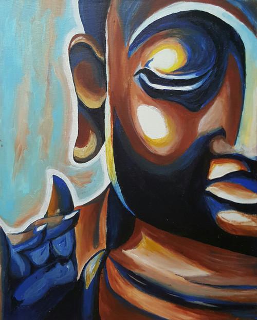 Buddha, nirvana, peace, serene, tranquility, oil,Brown and blue Buddha,ART_607_11248,Artist : Amaey Parekh,Acrylic