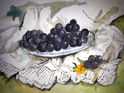 grapes, fruit, dining room, glass, plate,Grapes anyone?,ART_607_11246,Artist : Amaey Parekh,Water Colors