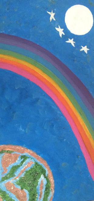 rainbow, sky, moon, stars,Rainbow Night,ART_1295_11216,Artist : Shoba Prakash,Oil