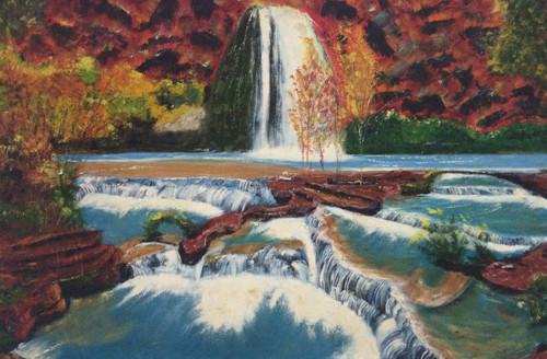waterfall, gushing water,Gushing Waterfalls,ART_1295_11203,Artist : Shoba Prakash,Oil