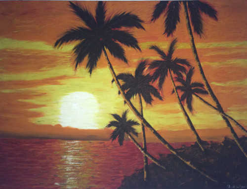 sunrise, dawn, morning,Awaiting Dawn,ART_1295_11201,Artist : Shoba Prakash,Oil