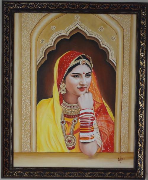 rahajsthani lady,jarokha,rajasthani potrait,rajasthani lady,ART_119_11192,Artist : Anita Raj,Oil
