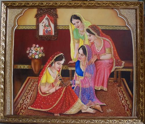 rajasthani lady,mehandi,figurative.potraits,rajasthani culture,rajasthani ladies making mehandi,ART_119_11191,Artist : Anita Raj,Oil