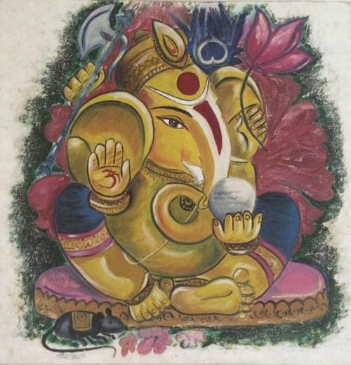 Ganesha, religious painting,Gracious Ganesha,ART_1295_11110,Artist : Shoba Prakash,Oil