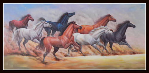 horse painting, fengshui horse, equestrian, wild life painting, multi coloured painting,FENGSHUI - HORSE 2,ART_1033_11025,Artist : PARESH MORE,Acrylic