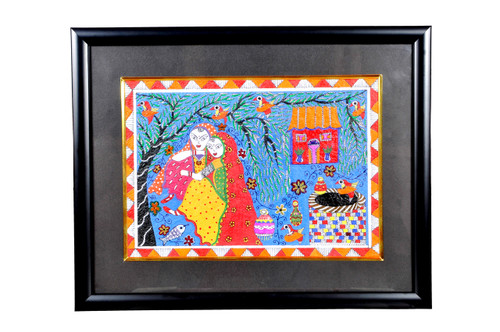 figurative, folk art, madhubani painting, multi colour painting,Madhubani Painting,ART_1277_11011,Artist : Anjali  Sharma,Acrylic
