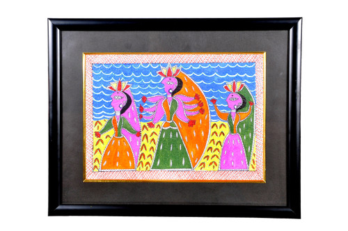 figurative, folk art painting, multi colour painting, madhubani painting.,Madhubani Painting,ART_1277_11010,Artist : Anjali  Sharma,Acrylic