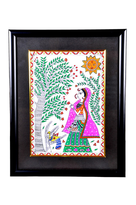 figurative, folk art, feminine painting, madhubani art, multi colour painting,Madhubani Painting,ART_1277_11008,Artist : Anjali  Sharma,Acrylic