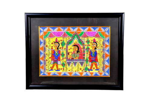 madhubani painting, yellow brown painting, folk art, figurative painting, bride painting,Madhubani Painting,ART_1277_11006,Artist : Anjali  Sharma,Acrylic