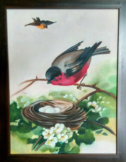 birds, sparrows, sparrow in nest, matrimony, family, family nest,Birds in Matrimony,ART_1254_10938,Artist : Rama Koneru,Oil