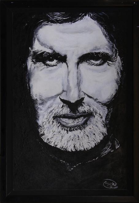 Amitabh, Bachchan, Portrait, Black/White, Real, 3D,Amitabh Bachchan,ART_306_8050,Artist : AYUSH AGRAWAL,Acrylic