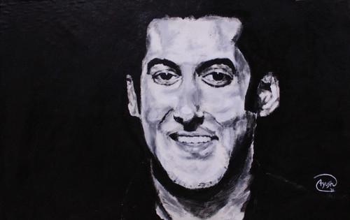 Salman Khan, Black and white, knife, portrait, Happy, young,Salman Khan,ART_306_8047,Artist : AYUSH AGRAWAL,Acrylic