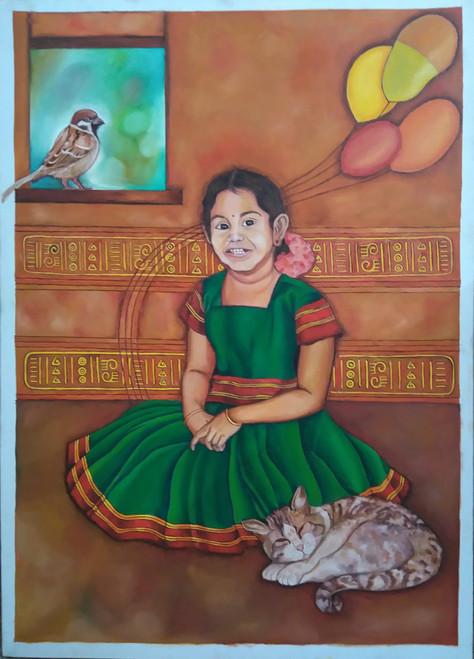 Portrait, figurative,Memory lane,ART_172_7671,Artist : Sneha Patil,Oil on canvas