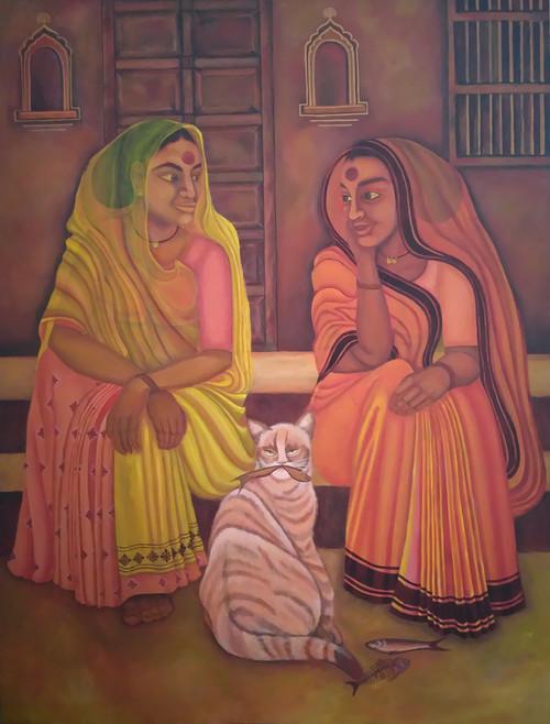 Figurative, indian,Memory lane,ART_172_7670,Artist : Sneha Patil,Acrylic on canvas