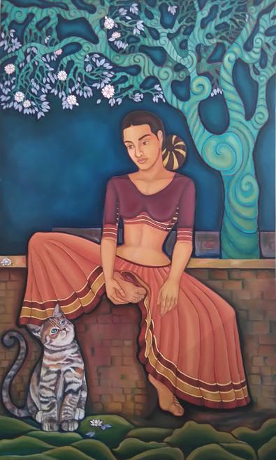Feminine, figurative, beautiful,Companions,ART_172_7669,Artist : Sneha Patil,Oil on canvas