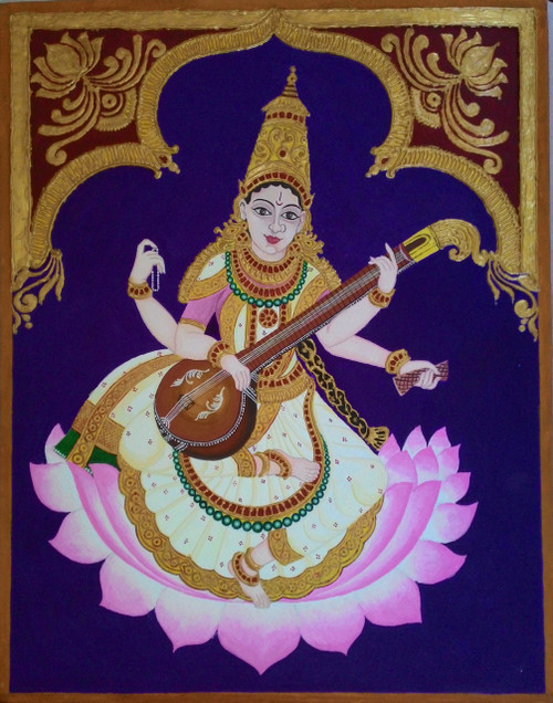 Saraswati, mysore painting, traditional painting, God's painting,Saraswati (mysore painting),ART_172_7668,Artist : Sneha Patil,Poster  on canson board