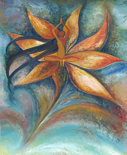 Invocation, Namaskar, Flower, Peace, Tranquility, Dynamic,An Invocation,ART_1348_11383,Artist : Megha Verma,Oil