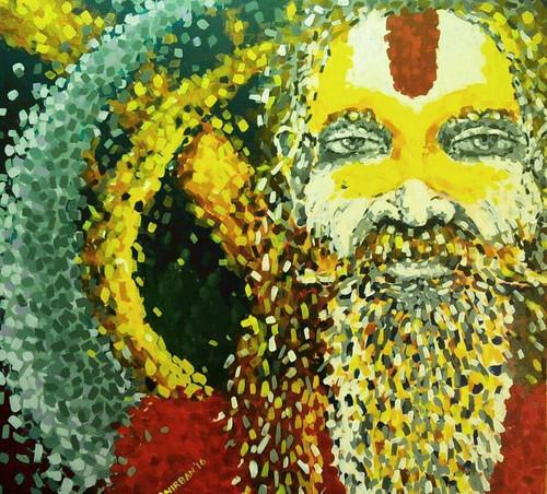 Sadhu, Peace, Meditation, Hindu, Tranquility, energy, inner self,The raging Sadhu 5,ART_1345_11363,Artist : Anirban Guha,Acrylic
