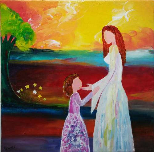 ,mother& Daughter,ART_1243_11385,Artist : Ujwala Chavan,Acrylic